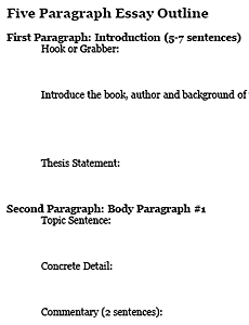 Paragraph Essay Graphic Organizer Five Paragraph Essay Outline Three ...