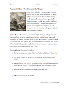 aesops fables reading comprehension 3 aesop - Free Halloween Reading Comprehension Worksheets