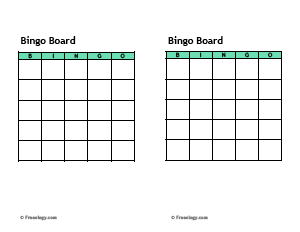Bingo Cards Template