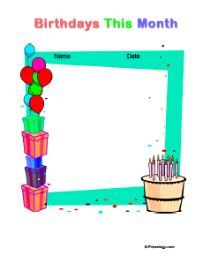 Classroom birthday chart cake ideas and designs for Birthday chart template for classroom