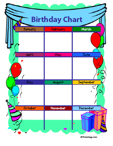 birthday chart template for classroom 4 birthday charts freeology