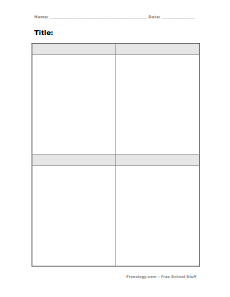 Printables 4 Square Worksheet four square notes freeology blank 4 box form