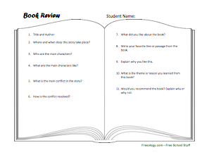 Freeology  Printable Book Review Template