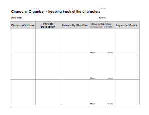 Character Details Graphic Organizer