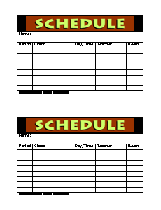 Daily planner template form freeology class schedule form pronofoot35fo Gallery