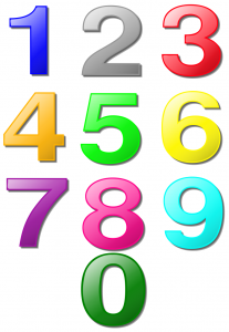 colored numbers one sheet