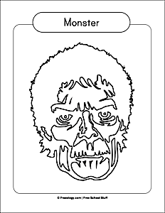 Monster Face Coloring Page