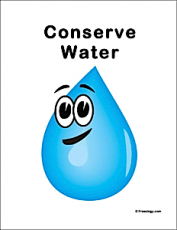 Conserve Water Classroom Sign