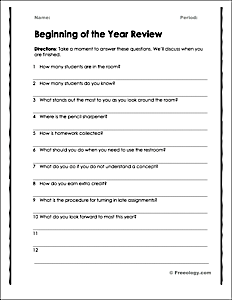 Classroom Procedures Review Worksheet