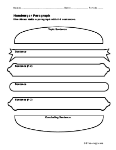 Hamburger Paragraph Writing Form - Freeology