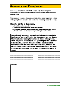 Printables Paraphrase Worksheet the difference between summarize and paraphrase freeology paraphrase
