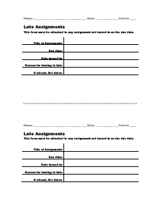late assignments form
