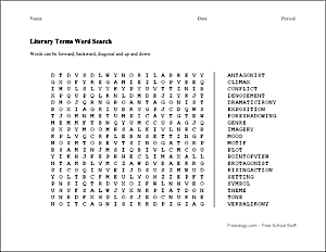 Literary Terms Word Search Freeology