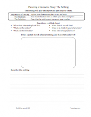 Narrative Writing Setting Worksheet