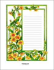 Yellow Flower Stationery Page