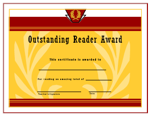 Outstanding Reader Award