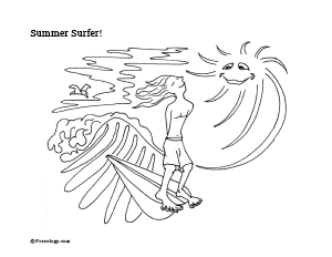 surfer coloring page