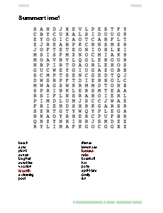 Summer Wordsearch