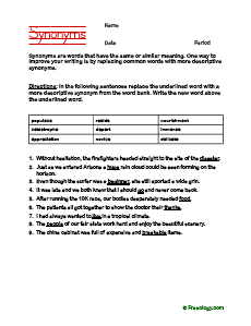 Synonym worksheet to improve writing