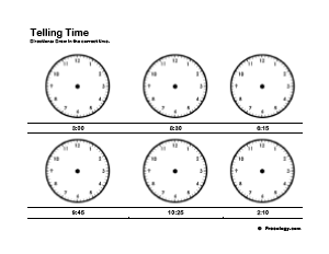 Telling Time Practice Worksheets - Freeology