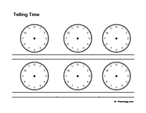 Blank Telling Time Practice Worksheet - Freeology