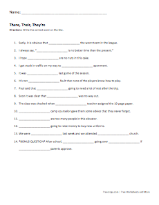 there their they're worksheet