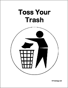 Toss Your Trash Classroom Sign