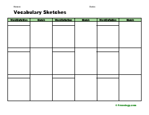 Vocabulary Sketches Flashcard Template