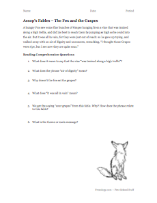 Aesop S Fables Reading Comprehension 1