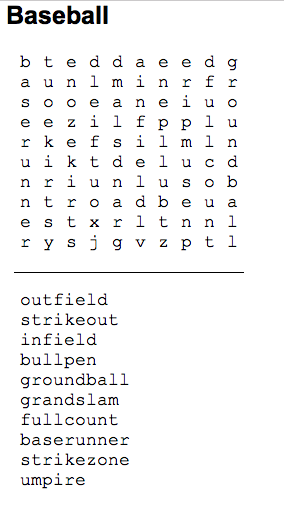 Baseball Word Search Freeology