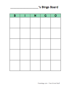 Big Blank Bingo Card Freeology