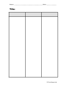 Blank 3 Column Notes Form on Reading And Writing Numbers