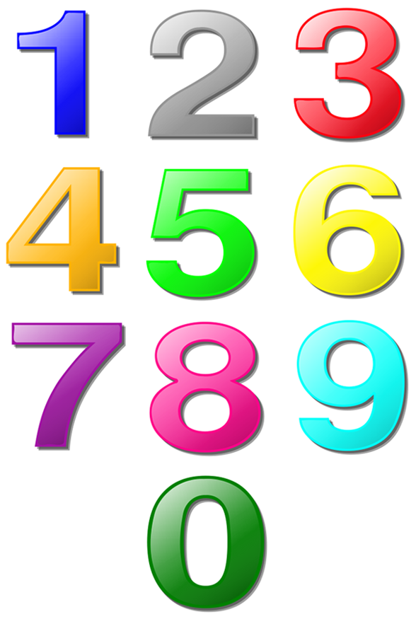 One Sheet Of Large Colored Numbers