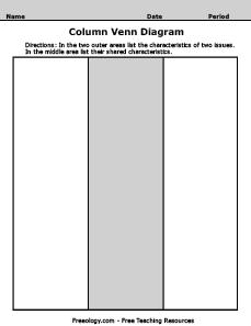 Venn Diagram Graphic Organizer.Column Venn Diagram Freeology