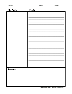 Dashing image inside printable cornell notes
