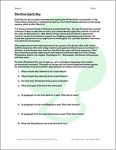 Earth Day Reading Comprehension Worksheet - Freeology