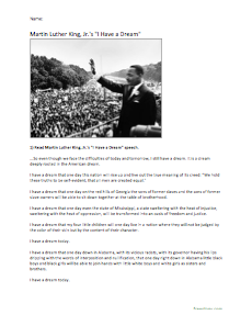 I Have a Dream  Sch Review  Test  or Worksheet and Detailed further  likewise Martin Luther I have a Dream   ESL worksheet by samir2008 besides K Day Worksheets together with I Have a Dream READING Worksheet Answer Key   Martin Luther King Jr additionally  further coloring   Martin Luther King Reading  prehension Exercises 16684 in addition  further Martin Luther King   I Have A Dream Sch   August 28  1963 as well 48 Best I have a Dream images in 2015   Martin luther king day additionally I Have a Dream'   Looking at Language Worksheet   Worksheet   black besides  in addition  moreover K I Have a Dream Worksheet additionally  moreover . on i have a dream worksheet