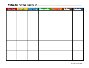picture about Monthly Planning Calendar identified as Colourful Printable Regular monthly Calendar - Freeology