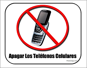 spanish no cell phones sign