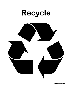 image relating to Recycling Sign Printable named Black and White Recycling Logo Poster - Freeology