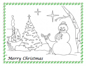 day snowman christmas coloring page