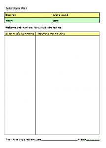 Subsute Teacher Lesson Plan Form