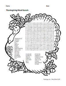 photo regarding Printable Thanksgiving Word Search identified as Thanksgiving Term Look - Freeology