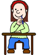 thinking girl at desk
