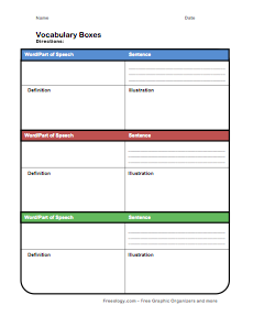 Vocabulary boxes freeology for Vocabulary graphic organizer templates