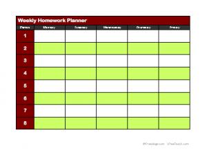 weekly homework planner 2 freeology