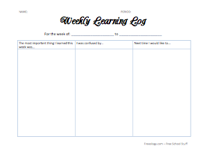 Weekly learning log freeology for Avid learning log template