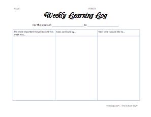avid learning log template - weekly learning log freeology