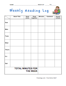 fire alarm log book template - weekly reading log in minutes freeology